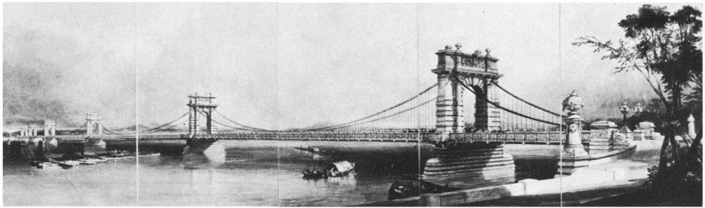 Цепной мост в Киеве. Джон Борн. 1847 год